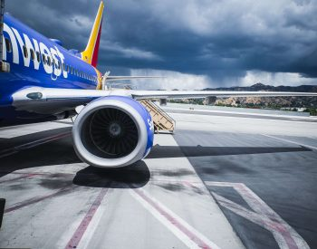 A photo of a Southwest Airlines plane docking.