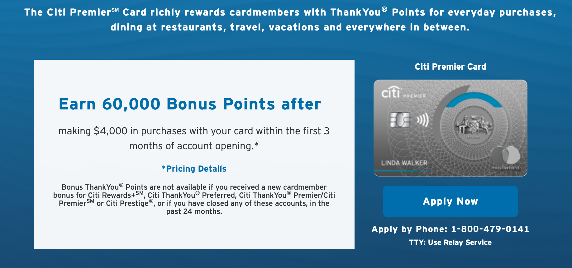 Screenshot of Citi Premier credit card sign-up bonus