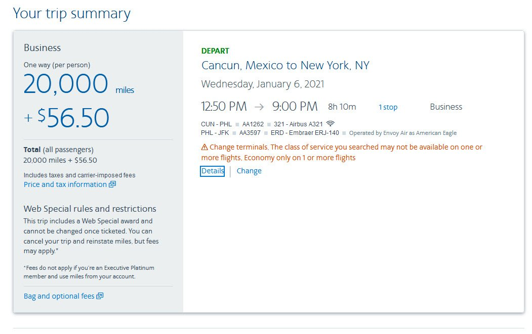 Cancun - New York-JFK can be Booked for 20,000 American Miles