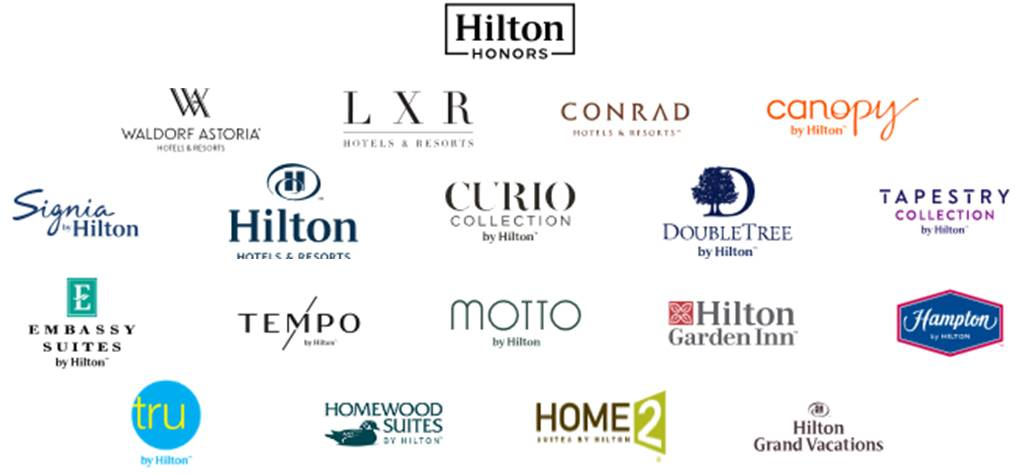 Hilton Hotels Includes Hilton Hotels & Resorts, Conrad Hotels & Resorts, DoubleTree, Embassy Suites, and Homewood Suites