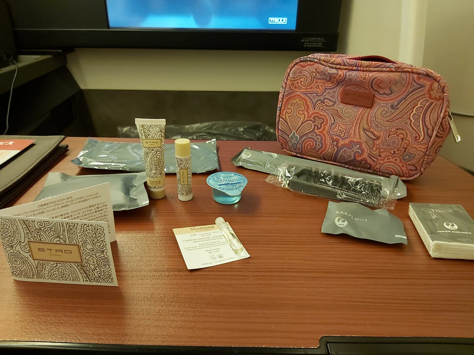 Japan Airlines first class amenity kit