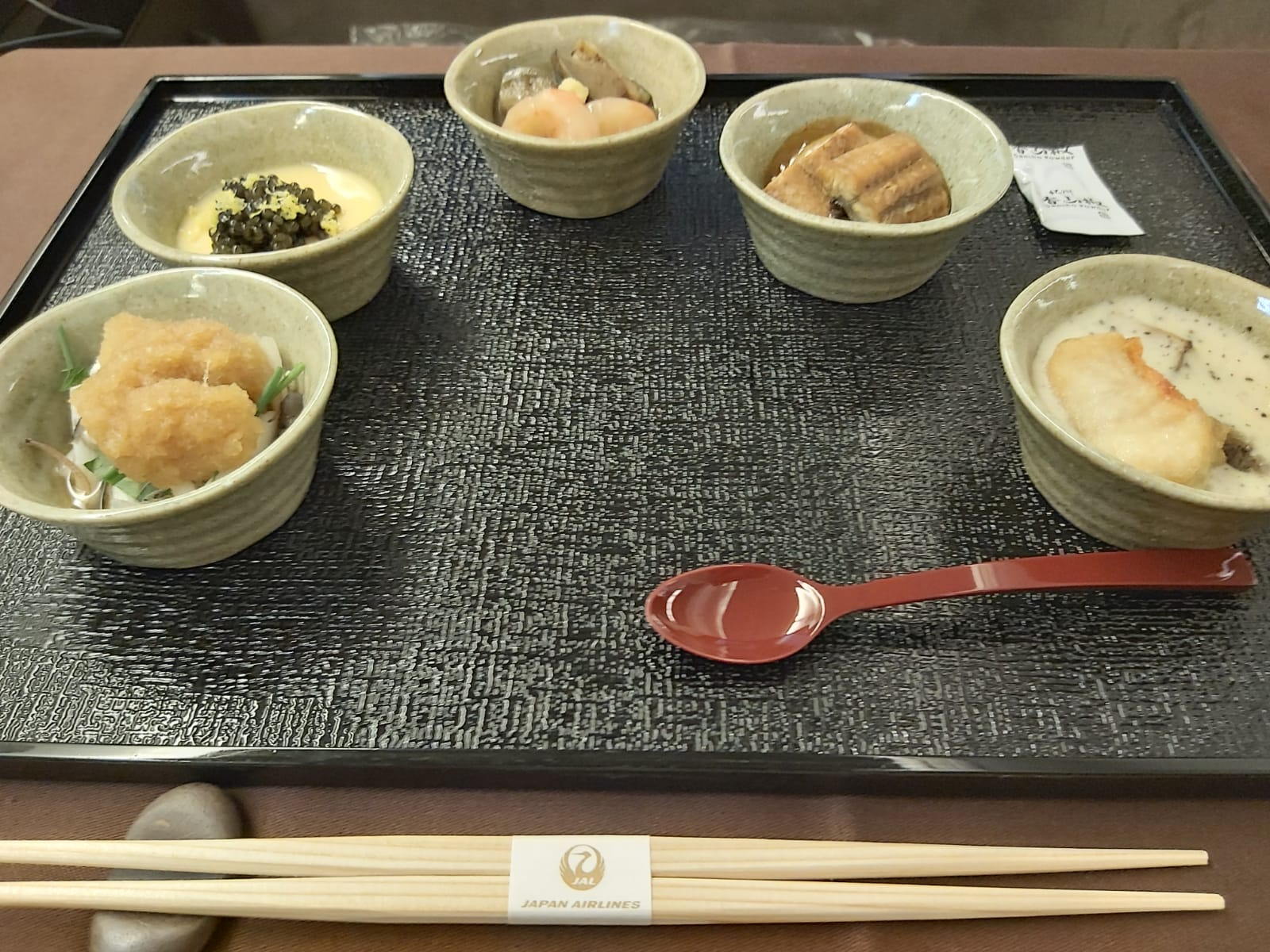 Japan Airlines first class menu delicacies