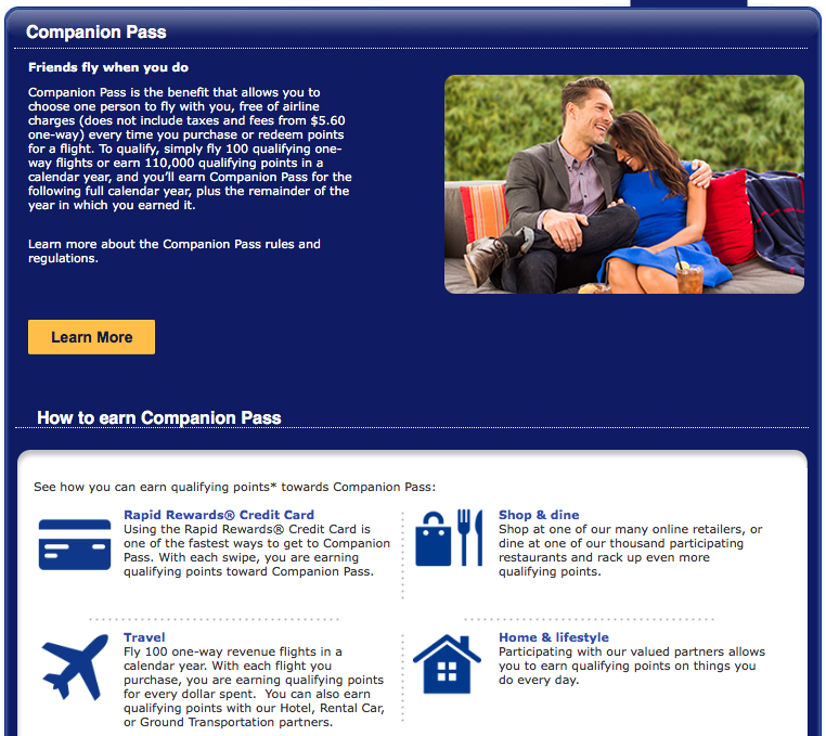 Earn Southwest Companion Pass Points