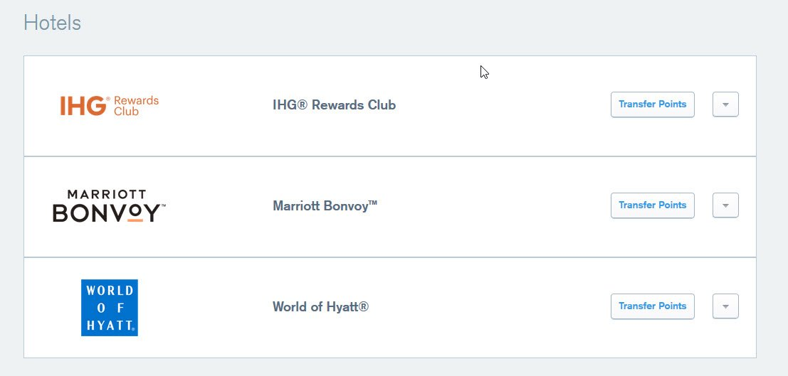 You can transfer Chase Ultimate Rewards points for hotel stays with IHG, Marriott, and World of Hyatt