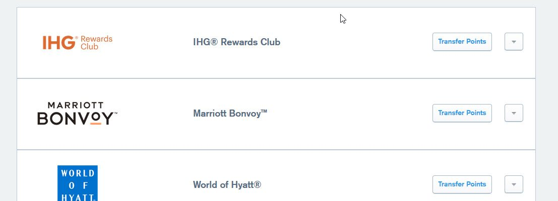 Ultimate Rewards Points Can be Transferred to Hotel Programs including HG Rewards Club, Marriott Bonvoy, and World of Hyatt