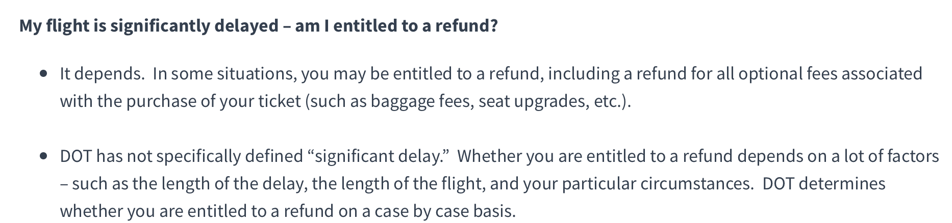 """The DOT's definition of """"significantly delayed"""""""