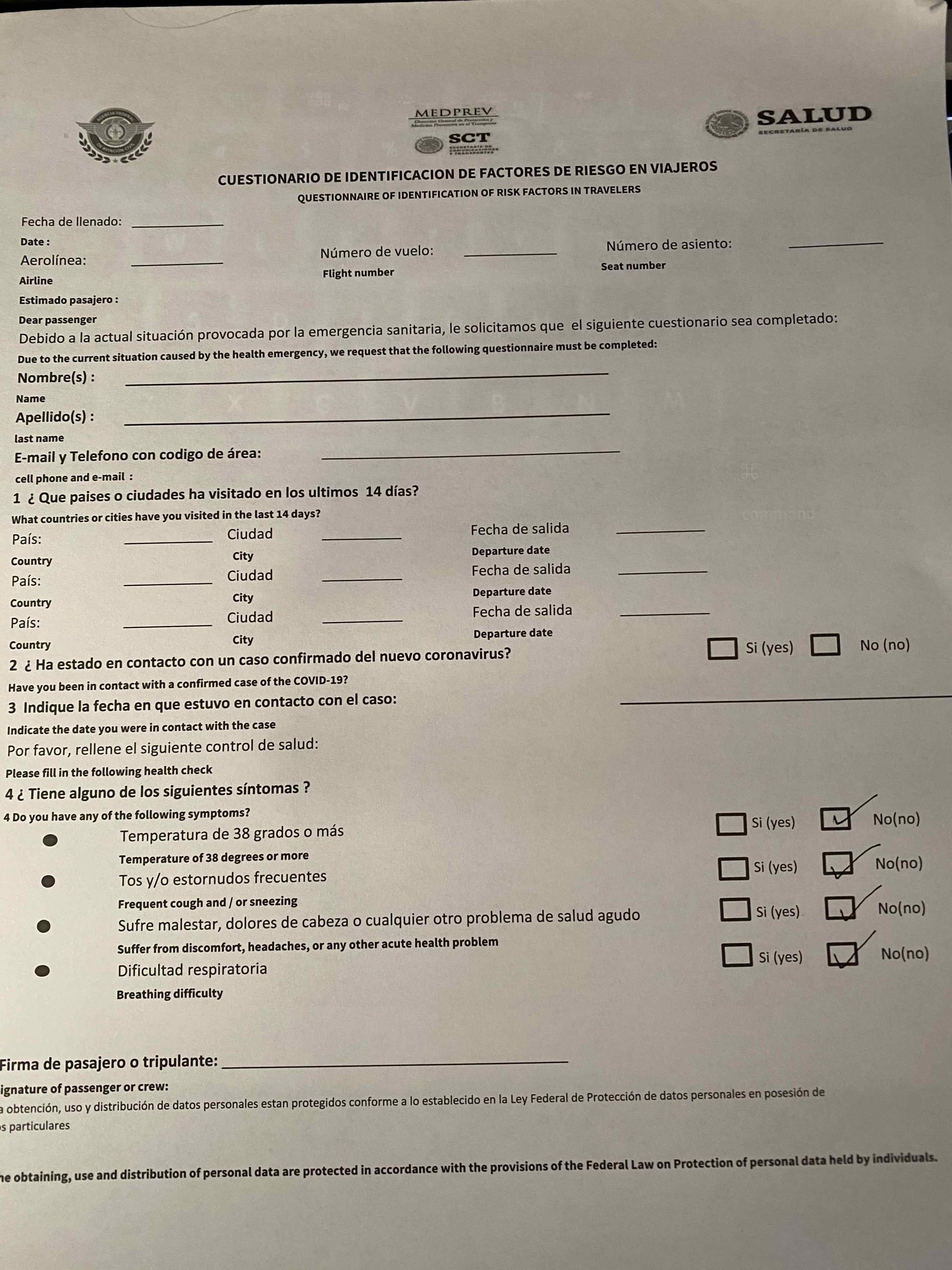 Covid-19 Health form to be filled out before taking any flight in Mexico either domestic or internaitonal