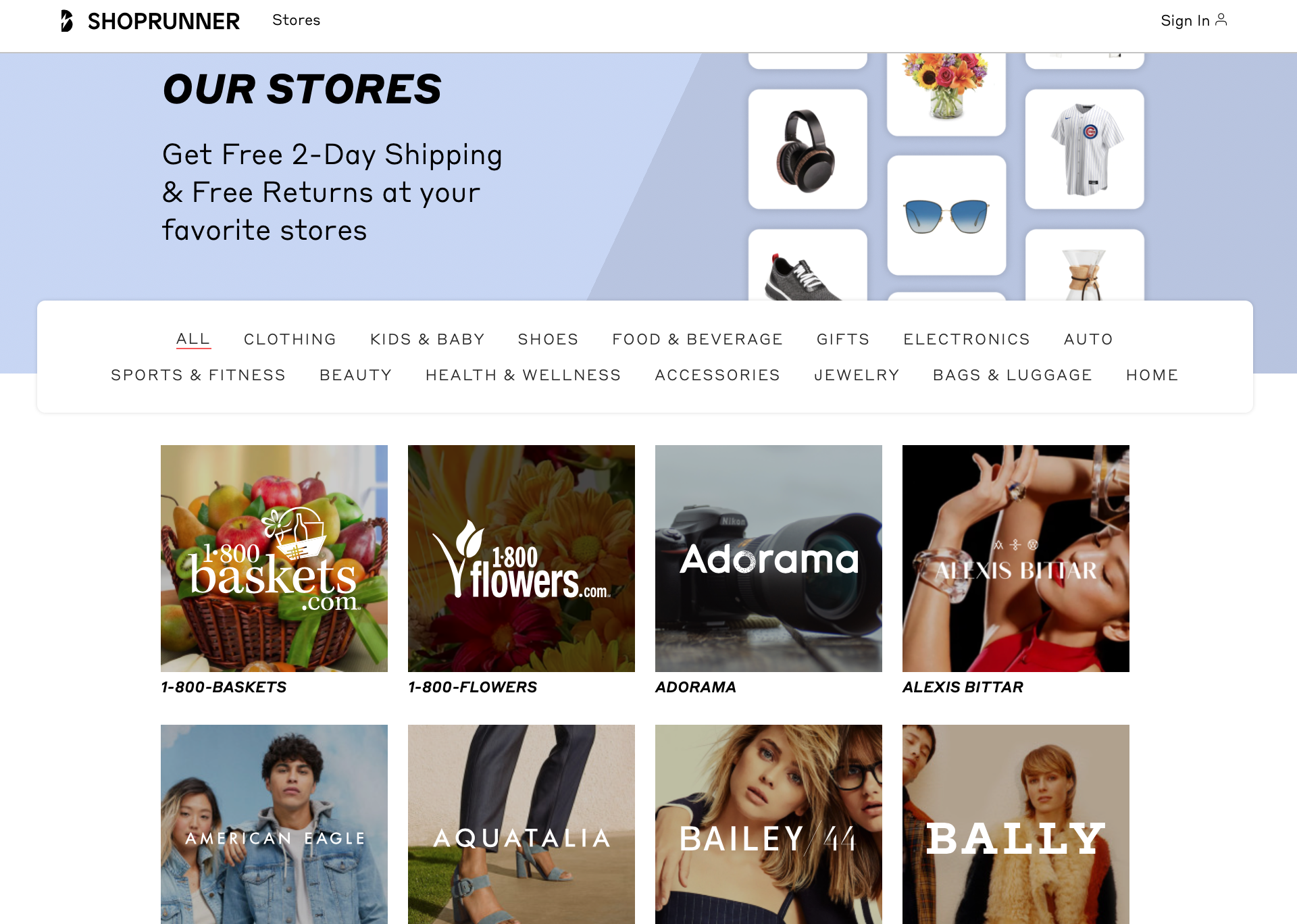 ShopRunner Store selections
