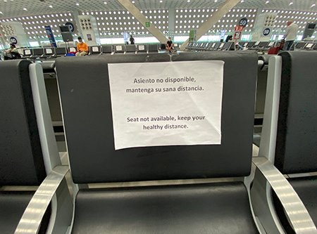 Seat spacing at the Mexico City airport due to the coronavirus pandemic.