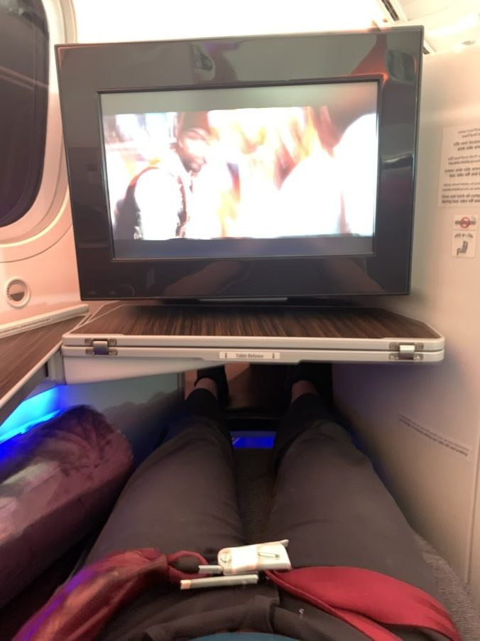 Qatar Airways 787 business class seat and screen