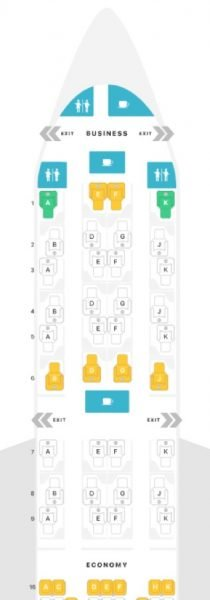 Layout of A350 Qsuite Business Class