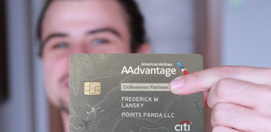 Author holding American Airlines Credit Card