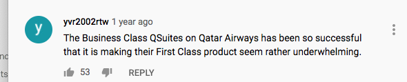 Youtuber saying A350 Qsuites is as good as their A380 first class.
