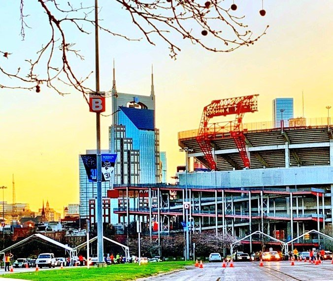 sunset-evening-at-nissan-stadium-waiting-in-line-for-the-Covid-19-vaccine-accents-of-the-nashville-tennessee-cityscape
