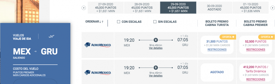 Screenshot of Aeromexico Club Premier Award Booking System with Sample Award Booking