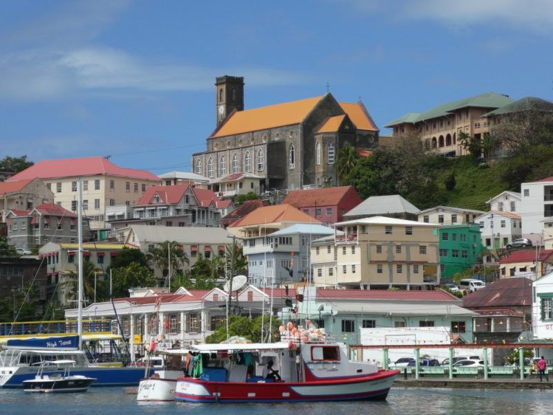 The colourful buildings in Grenada from the harbour